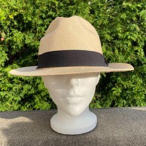 Fedora Straw Hat w Black Band Sz: 59